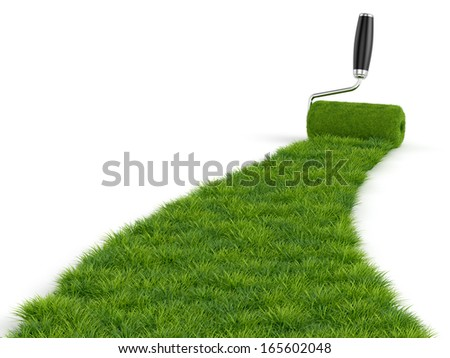 3d illustration of green paint of grass. Roller isolated on white background
