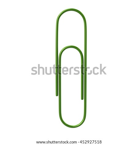 3d illustration of green paper clip isolated on white background - stock photo