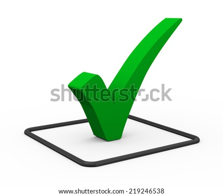 3d illustration of green right tick check mark symbol on white background. - stock photo