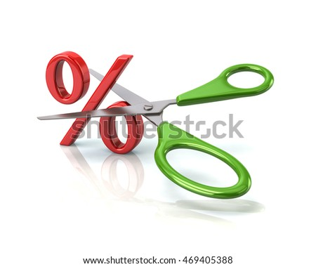 3d illustration of green scissors cutting percent sign isolated on white background