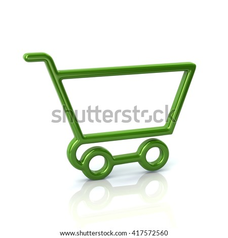 3d illustration of green shopping cart icon isolated on white background - stock photo