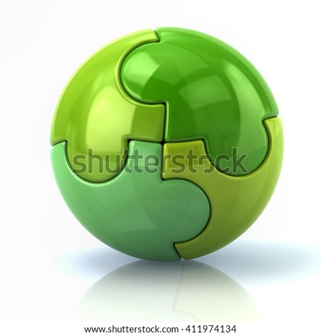 3d illustration of green spherical puzzle globe isolated on white background - stock photo