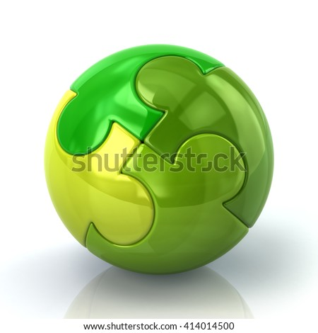 3d illustration of green spherical puzzle isolated on white background