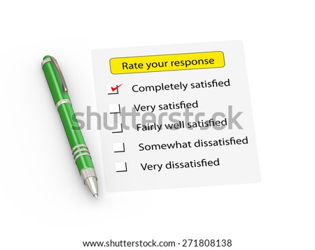 3d illustration of green stylish pen and rate your response form - stock photo