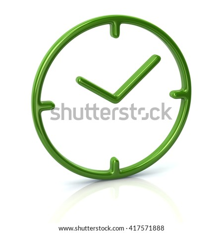 3d illustration of green time icon isolated on white background - stock photo