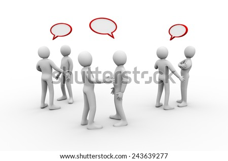 3d illustration of group of people with empty speech bubbles discussion and talking.  3d rendering of human people character