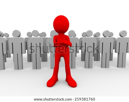 3d illustration of group of people with their unique successful red leader. Concept of teamwork and leadership. 3d human person character and white people