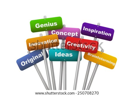 3d illustration of group of placard presenting concept of creativity - stock photo