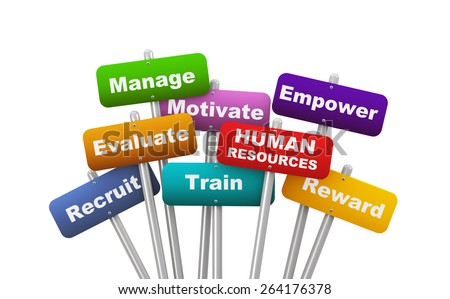 3d illustration of group of placard presenting concept of human resources - stock photo