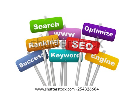 3d illustration of group of placard presenting concept of seo search engine optimization - stock photo