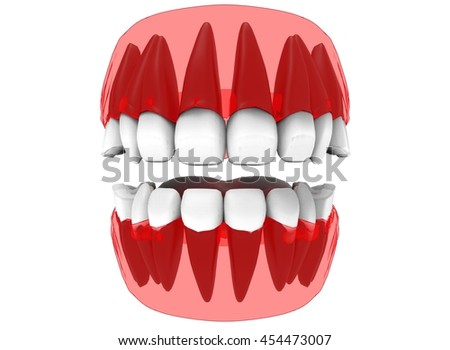 3d illustration of gum with teeth and tongue x-ray. icon for game web. white background isolated. colored and cute. anatomy part of the mouth.