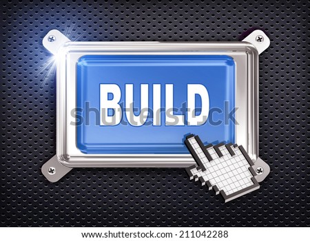 3d illustration of hand cursor pointer and chrome button presentation of concept of build - stock photo
