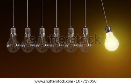 3d illustration of hanging light bulbs in perpetual motion with one glowing light bulb on orange background - stock photo