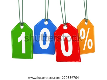 3d illustration of hanging with string label tag of 100 percent special discount deal - stock photo
