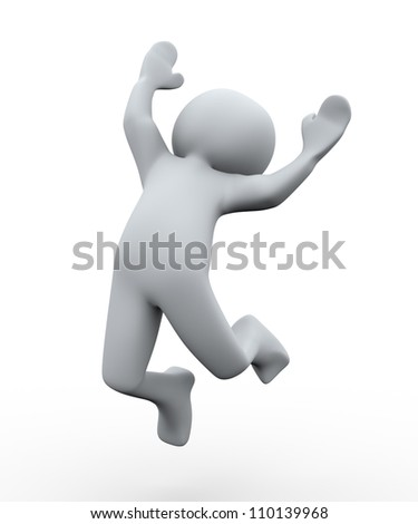 3d Illustration of happy jumping man. 3d rendering of human character - stock photo