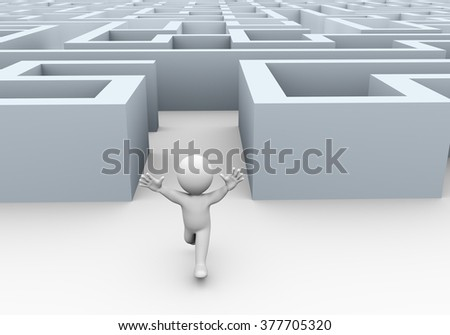 3d illustration of happy running man successfully completed and exiting complicated puzzle maze.  3d rendering of human people character. - stock photo