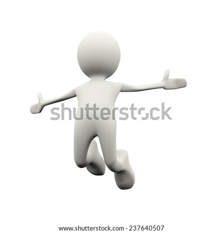 3d illustration of happy successful man jumping with joy. 3d human person character and white people