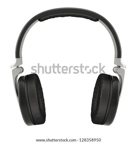 3d illustration of headphones. Isolated on white background - stock photo