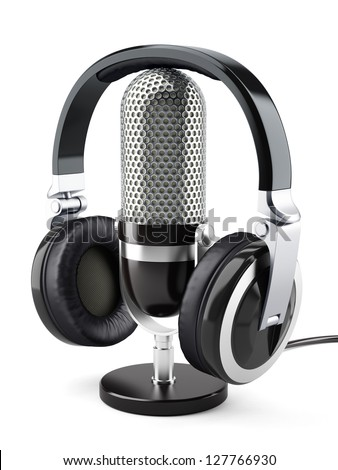 3d illustration of headphones with microphone. Isolated on white background - stock photo