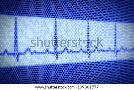 3d illustration of heartbeat on computer screen