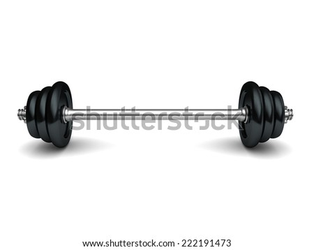 3d illustration of heavy barbell over white background