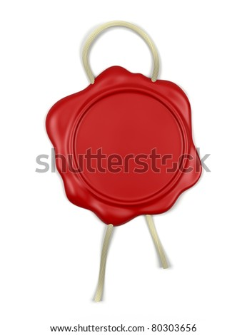 3d illustration of high resolution red wax seal with the cord over white background