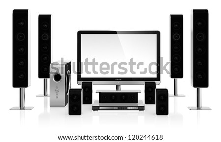 3D illustration of home cinema system isolated on white background - stock photo