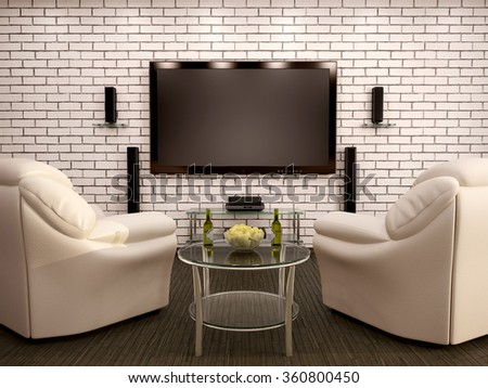 3d illustration of home theater leather chairs table with chips and beer - stock photo