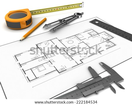 3d illustration of houe blueprints and drawing tools