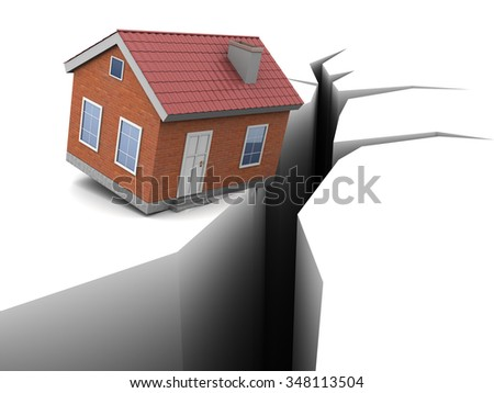 3d illustration of house and crack, earthquake concept