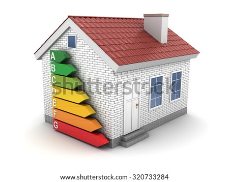 3d illustration of house and energy efficiency rating