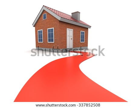 3d illustration of house and road to it - stock photo