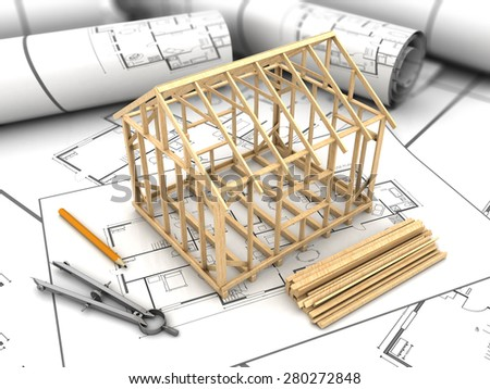 3d illustration of house frame modeling and blueprints - stock photo