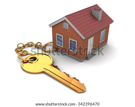 3d illustration of house keychain, over white background - stock photo
