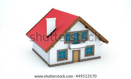 3D illustration of house on white background - stock photo