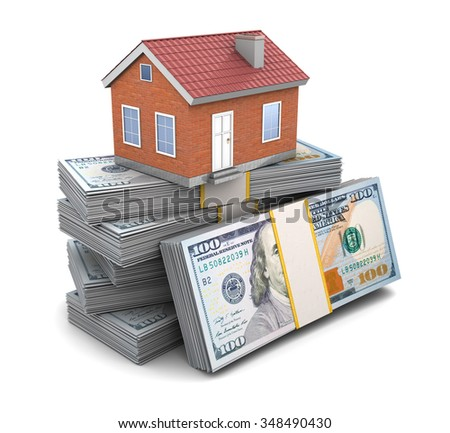 3d illustration of house over money stack - stock photo