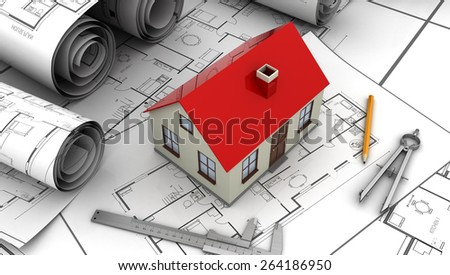 3d illustration of house plan and drawing tools - stock photo