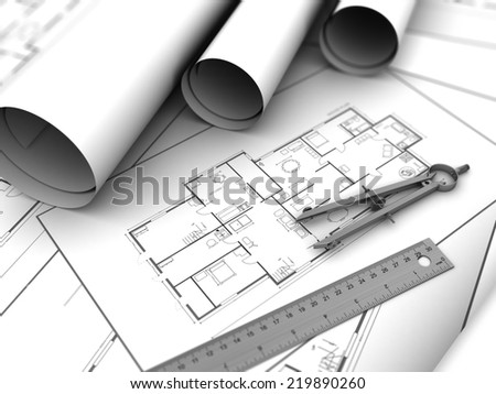3d illustration of house plan blueprints and caliper - stock photo