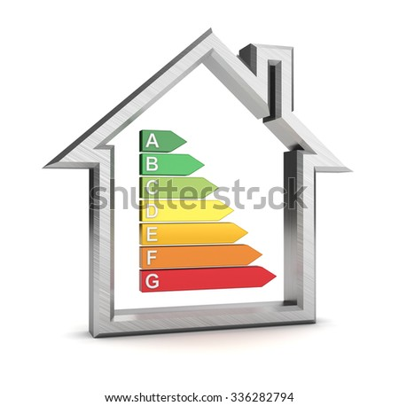 3d illustration of house symbol and energy rating - stock photo