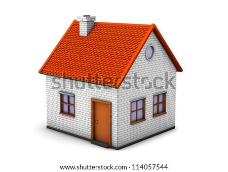 3d illustration of house. White background. - stock photo