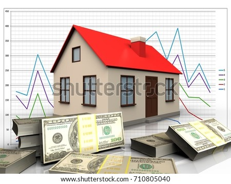 3d illustration of house with banknotes over diagram background