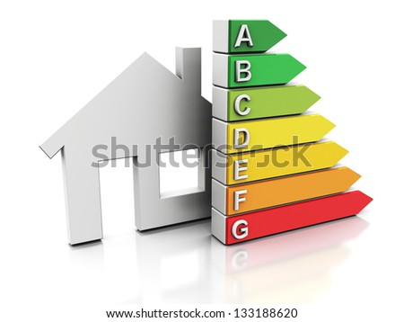 3d illustration of house with energy efficiency symbol, over white background - stock photo