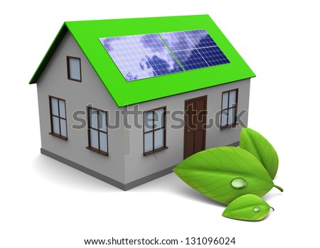 3d illustration of house with green leaf, over white background