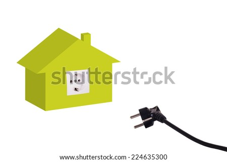 3D illustration of house with power outlet and plug as energy efficiency concept - stock photo