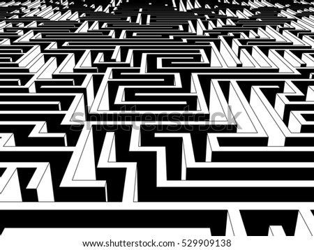 3d illustration of Huge and endless labyrinth of walls