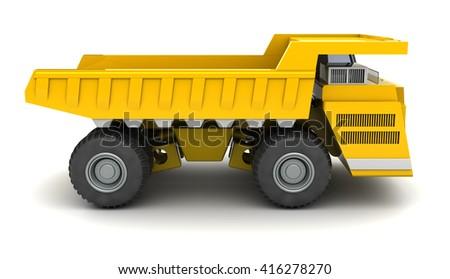 3d illustration of huge dumper over white background, side view - stock photo