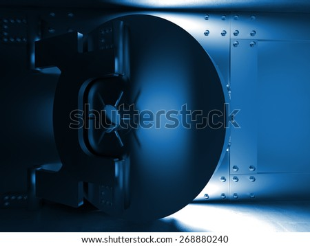 3d illustration of huge vault door - stock photo
