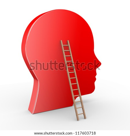 3d illustration of human head and ladder.
