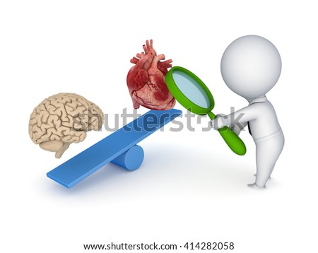 3d illustration of human heart and brain on a scales. - stock photo