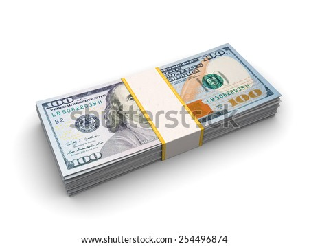 3d illustration of hundred dollar bills in the stack - stock photo